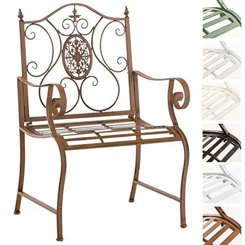CLP Lackierter Eisen-Gartenstuhl Punjab mit Armlehne I Outdoor-Stuhl im Landhausstil I erhältlich Antik Braun