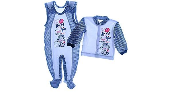 Jungen Anzug Body Hemd blau gestreift Baby Gr 62 68 74 Stickerei Strampler NEU