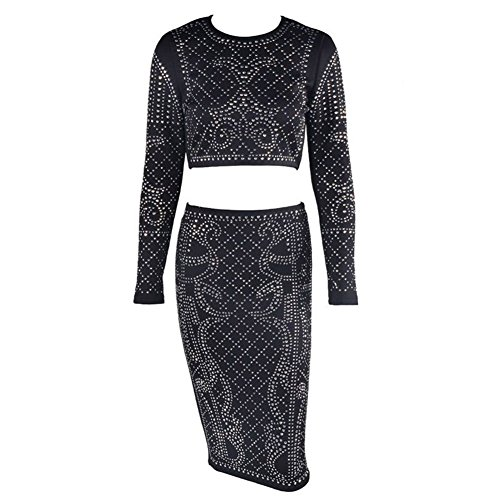 PU&PU Femmes Occasionnels / Sorties Noir Rhinestone Turtle Neck manches longues Two Piece Set, Jupe haute taille Black