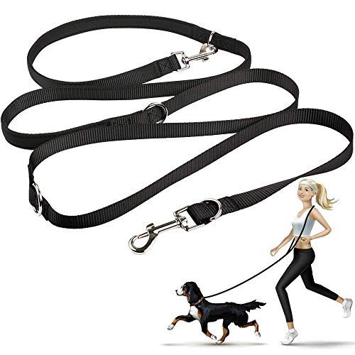 ONEISALL Hundeleine, freihändige Hundeleine, multifunktionale Hundetraining-Leine zum Laufen, Wandern, 2,4 m, verstellbare Nylon-Doppel-Laufleine für kleine, mittelgroße oder große Hunde -