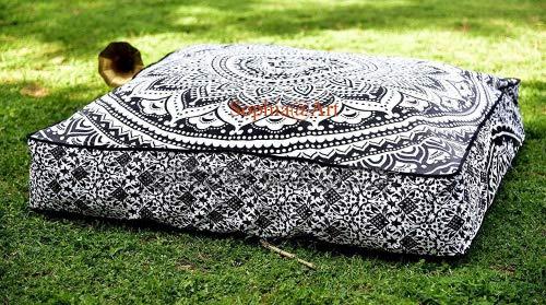 Sophia Art Elefante Indio Mandala Suelo Almohada Cuadrada sofá Grande Funda de cojín Algodón puf Otomano Asiento Otomano POUFS Perro/Mascotas Cama