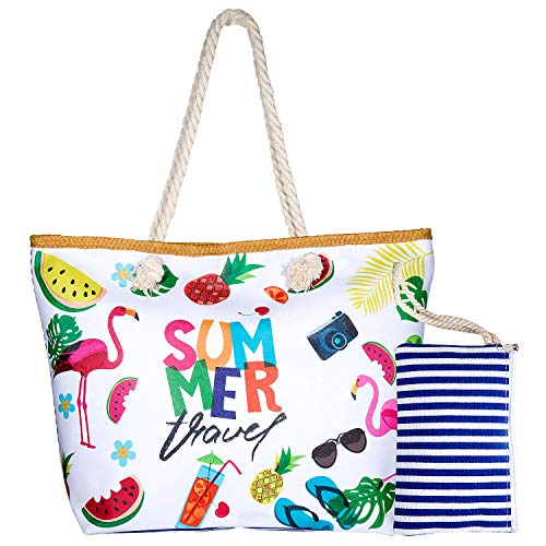 8448636938659 Joeyer Trendige Canvas Strandtasche mit Reißverschluss, Große Reise  Einkaufstasche Handtasche für Urlaub (6)