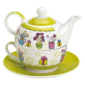 tea for one set 3 teilig porzellan teekanne mit tasse und untertasse in geschenkbox. Black Bedroom Furniture Sets. Home Design Ideas