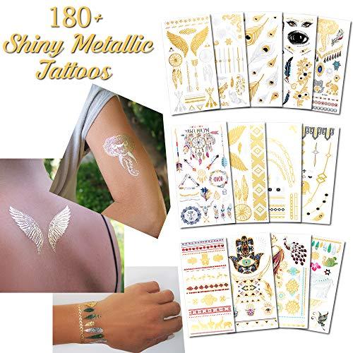 Temporäre Tattoos Metallisch Verschiedene Stile und Körperkunst Designs – Fake Tattoos für Erwachsene und Jugendliche Tattoos für Arme Beine Schulter oder Rücken (180+ Metallic Tattoos - 13 Blätter)