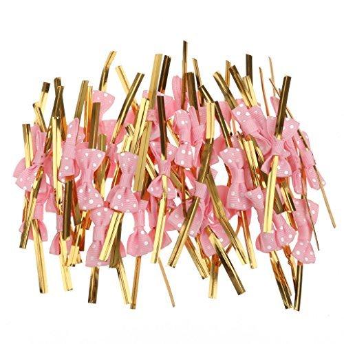 lsv-850Rose Schleife Geschenk Verpackung Metallic Twist Krawatten für Party Bakery Cookie Candy Staubbeutel Pink -