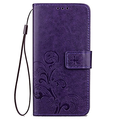Double Magnetic Back Sucktion Retro Style PU Leder Flip Stand Case mit Kickstand und Wallet Beutel Funktion für ZTE Blade V7 Lite ( Color : Brown ) Purple