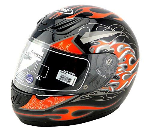 KED SOAR Motorradhelm Rookie, Black Orange Grey, Größe XS, auch für Go-Kart geeignet!