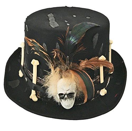 Halloween Zylinder Los Muertos in schwarz | Einheitsgröße Erwachsene | Steam-Punk oder (Horror Kostüm Motto Party)
