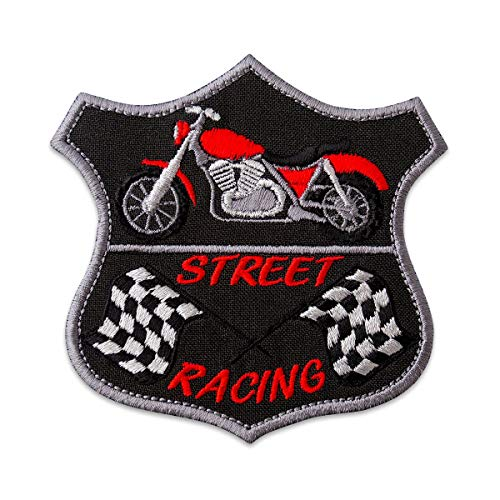 "Red Bike and Chequered Banderas bordadas para moto parche de planchar (3,9""x 3.8"")"