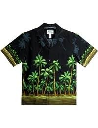 KY's| Chemise Hawaïenne D'Origine | Pour Hommes | S - 8XL | Manche Courte | Poche Avant | Hawaiian-Imprimer | Plage | Palmiers | Noir