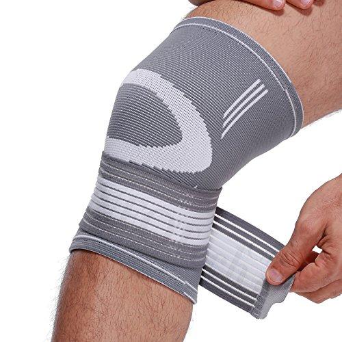 Neotech Care Kniebandage (1 Paar) - leichter, elastischer & atmungsaktiver Stoff - verstellbarer Kompressionsriemen zum Wickeln - Männer, Frauen - rechtes oder linkes Bein - Grau (S)
