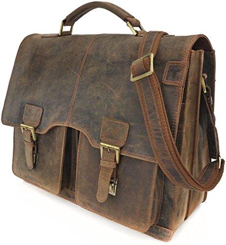 Robuste Aktentasche aus Leder, Lehrertasche Leder mit Laptopfach bis 13' DIN A4 Laptoptasche Damen aus Leder von URBAN FOREST - 40 x 31 x 17 cm, Farbe:Schwarz Cognac
