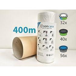 Recharges de poubelle à couches et anti-odeurs compatible avec Sangenic, Angelcare et Litière Litter Locker II - équivaut à 32 Recharges Sangenic, 40 Recharges Litter Locker II et 56 Recharges Angelcare, 400m + inclus le tube en carton pour faciliter la recharge