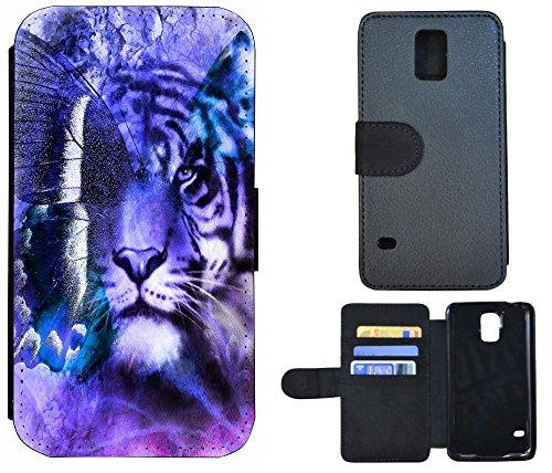 Etui Flip Cover Schutz Hülle Handy Tasche Case für (Apple iPhone 6 / 6s, 1048 Totenkopf Sensenmann Zigarette) 1044 Löwe / Tiger / Schmetterling Lila