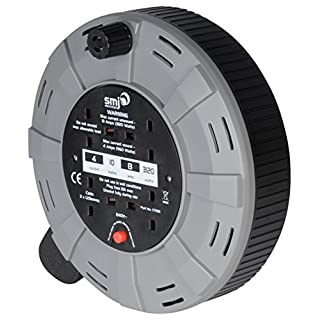 SMJ Electrical CT1013 SMJ CT1013-4SKT 10MTR 13A 240V Cable Reel with Thermal Cut-Out, 10 meter