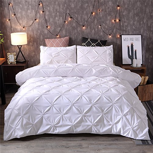 ten Sets Pinch Falte Designer Bettbezug Set Modern Queen (No Comforter) Weiß ()