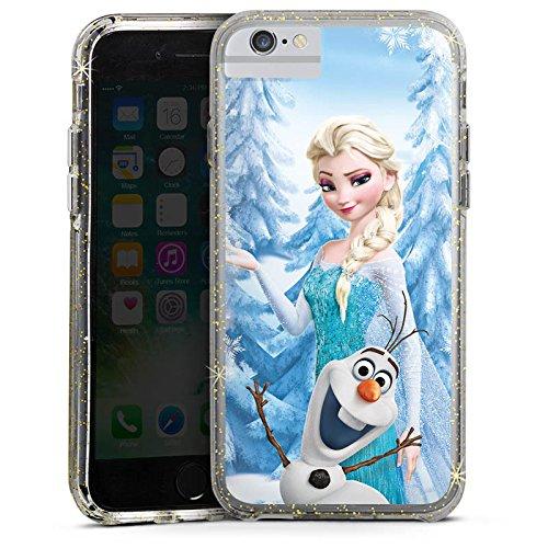 Apple iPhone 8 Bumper Hülle Bumper Case Glitzer Hülle Disney Frozen Elsa & Olaf Geschenke Merchandise Bumper Case Glitzer gold