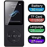 Lettore MP3 Musicale Digitale Portatile, MP3 Player con 16 GB Radio FM/Registratore Vocale/Video/di E-Book/Immagini/Musicale Lettore Economico, Espandibile fino 128GB (Cuffie Inclusi)