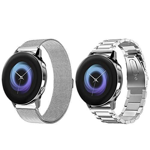VANCHAN kompatible Samsung Galaxy Watch Active Armband, Solid Edelstahl Metall Ersatzarmband Uhrenarmbänder kompatibel mit Samsung Galaxy Watch Active(2Silber)