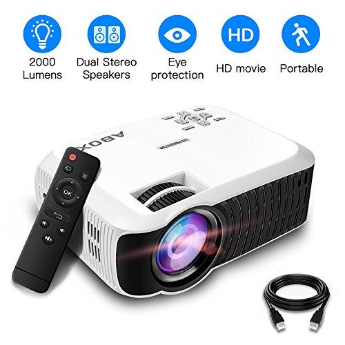 Beamer, ABOX T22 2000 Lumen Tragbarer LED Projektor Unterstützt 1080p HDMI USB SD Karte VGA AV für Fire TV Stick Laptop Perfekt für Heimkino TV und Weltmeisterschaft- Weiß