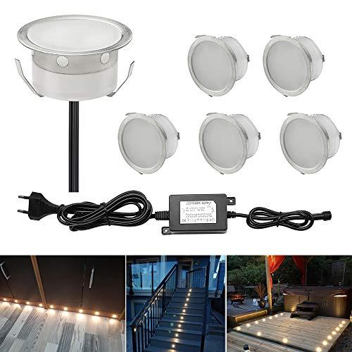 CHNXU 6er Set LED Bodeneinbaustrahler Ø40mm Warmweiß Terrasse Einbauleuchte, IP67 Wasserdicht LED Treppen Beleuchtung Aussen, Doppel 1M Kabel mit 2M Einbaustrahler Abstand für Küche, Garten, Balkon