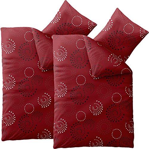 CelinaTex 0004428 Smart Bettwäsche Garnitur 135 x 200 cm 4-Jahreszeiten Bettbezug Set 4 teilig Mikrofaser Reißverschluss Design Mariella rot mit Muster - Bettbezug Rot