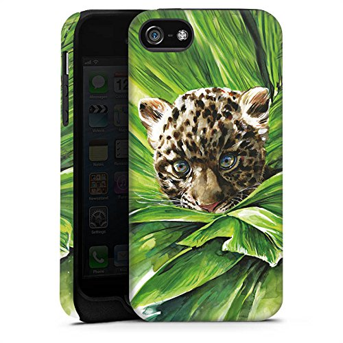 Apple iPhone X Silikon Hülle Case Schutzhülle Leoparden Baby dschungel Raubtier Tough Case matt