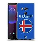 Head Case Designs Isländische Fahne Fahnen Flicken Soft Gel Hülle für HTC U11 Eyes
