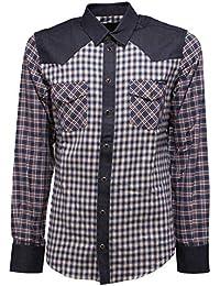Dolce   Gabbana 5411Y Camicia Uomo Blue Denim Check Cotton Shirt Man f206a6bdf46