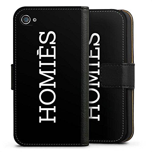 Apple iPhone X Silikon Hülle Case Schutzhülle Homies Schwarz-Weiß Statement Sideflip Tasche schwarz