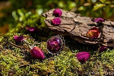 Bague en verre et pétales de roses rouges - Bijoux faits main de fleurs séchées naturelles - 20mm - Cadeau Femme - Cadeau Saint Valentin