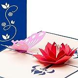 Karte zum Valentinstag, Valentinstagskarte, Schmetterling und Blüte, 3D Pop up, handgefertigt, Karte Geburt, Geburtskarte, Geburtstagskarte, Karte zur Verlobung, Verlobungskarte, Glückwunschkarte