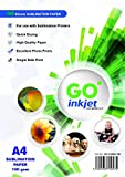 GO Inkjet - 100fogli di carta A4per sublimazione e pressa di calore per magliette, tazze, e carta di trasferimento (etichetta in italiano non garantita)