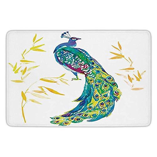 FAFANIQ Bathroom Bath Rug Kitchen Floor Mat Carpet,Feather House Decor,Digital Watercolor Creature Female Peacock Large Tail with Eyespots Image,Multi,Flannel Microfiber Non-Slip Soft ()
