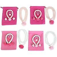 Kilofly - Set di collana, orecchini e anello delle principesse, confezione da (Wedding Pearl Tema)