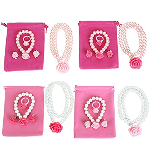 kilofly Princess Jewelry Value Pack of 4, Necklace, Bracelet, Earrings,