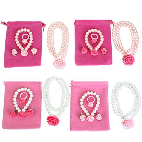 Kilofly - Set di collana, orecchini e anello delle principesse, confezione da 4