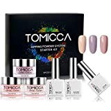 TOMICCA Dipping Powder 3 Elegante Farben + Base & Top Coat und Aktivator + Tools Geschenke (DIY Starter Kit) Acryl nagel pulver Natural Dry | Rosa Serie