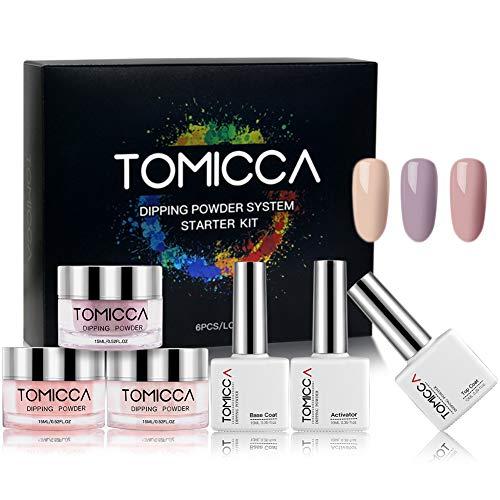 TOMICCA Dipping Powder 3 Elegante Farben + Base & Top Coat und Aktivator + Tools Geschenke (DIY Starter Kit) Acryl nagel pulver Natural Dry | Rosa Serie