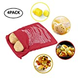 Axibi 4Pcs Reusable Microwave Oven Delicious BBQ Potato Cooker Bags Only Need 4 Minutes