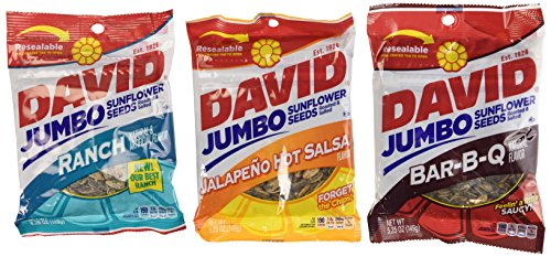 David Sunflower Seeds 5.25 oz Variety Pack (Pack of 6) 2 Bags of David Sunflower Seeds BBQ Natural Flavor + 2 Bags of David Sunflower Seeds Ranch Flavor + 2 Bags of David Sunflower Seeds Jalapeno Hot Salsa Flavor by UnAssigned