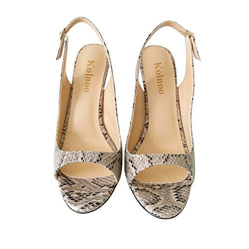 Kolnoo Damenschuhe Faschion Allenissima 120mm Peep Toe Slingback High Heel Sandals Schuhe Snakeskin