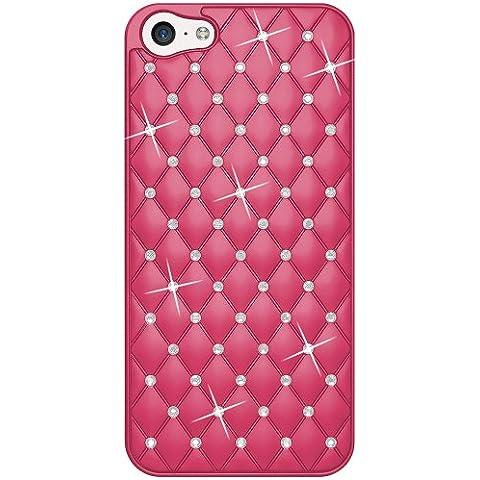Amzer - Carcasa  del diamante del enrejado Amzer Snap On Carcasa para el iPhone 5C - Rosas fuertes