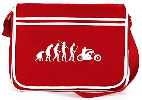 Shirtstreet24, EVOLUTION CHOPPER, Biker Motorrad Retro Messenger Bag Kuriertasche Umhängetasche Rot