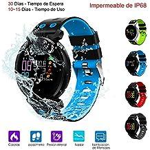 Reloj Inteligente Pulsera Actividad Impermeable de IP68 con Pantalla HD (Azul)