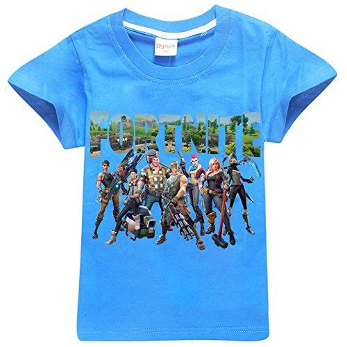 SERAPHY Camiseta de Manga Corta de Algodón Fortnite Camisetas Niños Maravillosos Regalos para Niños Azul-85 120