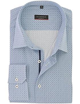 ETERNA Herren Business Hemd Modern Fit mit Geo Kent Kragen Baumwolle Gr. 42 Blau
