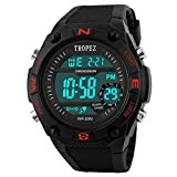 Tropez Multifunction Shock Resistant LED Digital Unisex Sports Wrist Watch - Red