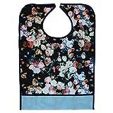 Wasserdicht Erwachsene Lätzchen Kleidungschutz Bib Tuch Schürze Hibiskus mit Tasche, nit abnehmbar, für Behinderung Hilfe, Altenpflege Blumen 02