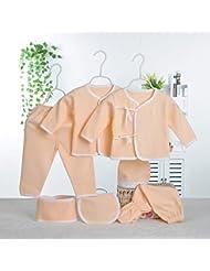 SHISHANG Caja de regalo del bebé Sistema 100% puro del bebé de la luna llena del algodón determinado fijado (sistema de 7 pedazos) Muchacha del muchacho cuatro estaciones para el bebé 0-1-Year-old , 59cm